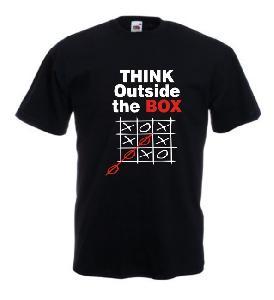 Tricou negru imprimat Outside the box