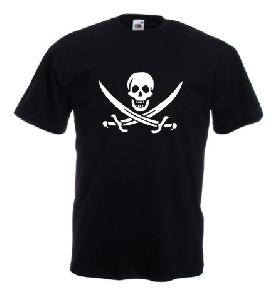 Tricou negru imprimat Pirat logo