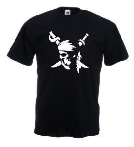 Tricou negru imprimat Pirate
