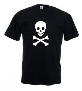Tricou negru imprimat Pirate Bones