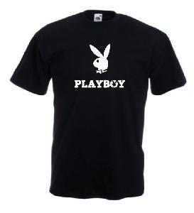 Tricou negru, imprimat Playboy