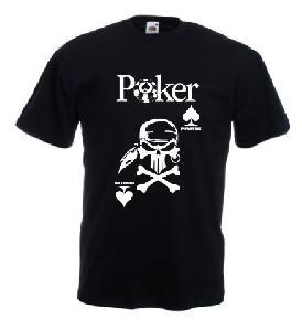 Tricou negru imprimat Poker Pirates