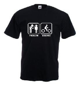 Tricou negru, imprimat Problem Solved 4