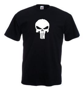 Tricou negru imprimat Punisher