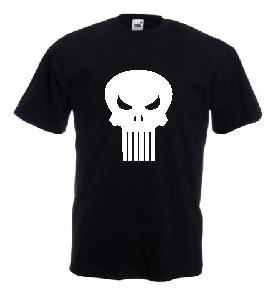 Tricou negru imprimat Punisher Clasic