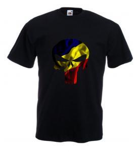 Tricou negru imprimat Punisher Tricolor DTG