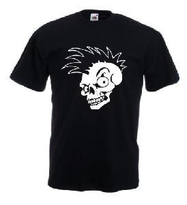 Tricou negru imprimat Punk Skull