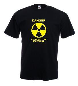 Tricou negru imprimat Radioactiv galben