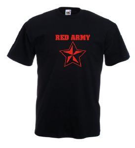 Tricou negru imprimat RED ARMY 2