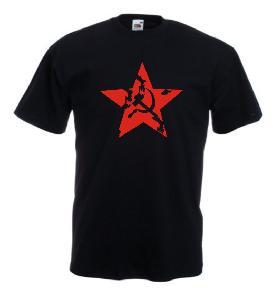 Tricou negru imprimat RED ARMY