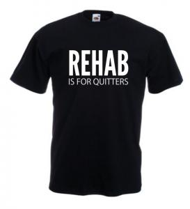 Tricou negru imprimat Rehab