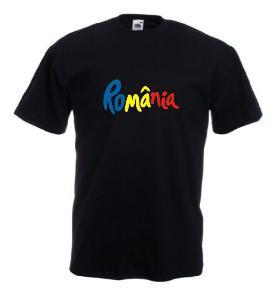 Tricou negru imprimat Romania