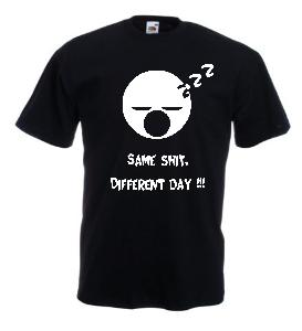 Tricou negru imprimat Same Shit