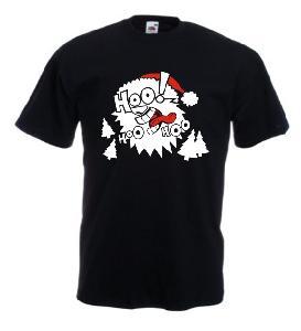 Tricou negru imprimat Santa 2