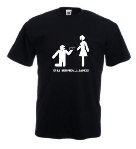Tricou negru imprimat Semnul Casniciei