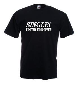 Tricou negru, imprimat Single offer