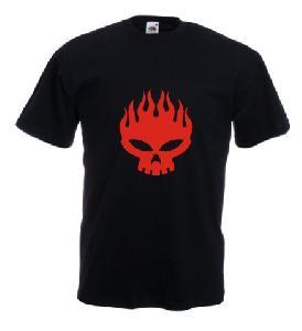 Tricou negru imprimat Skull in flames