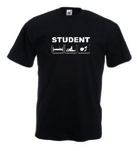 Tricou negru, imprimat Student alb