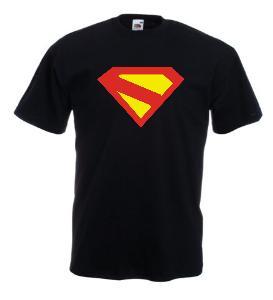 Tricou negru imprimat Superman Kingdom