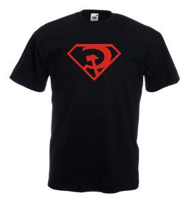 Tricou negru imprimat Superman Red Son
