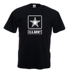 Tricou negru imprimat US Army