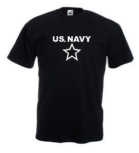 Tricou negru imprimat US Navy