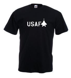 Tricou negru imprimat USAF