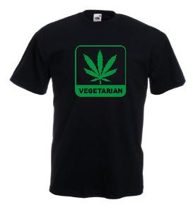 Tricou negru imprimat Vegetarian