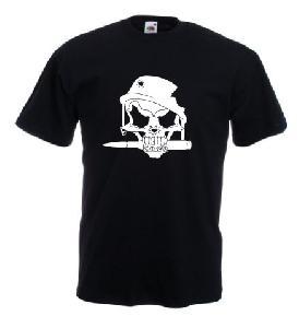 Tricou negru imprimat War Skull