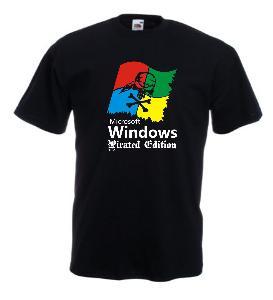 Tricou negru imprimat Windows Pirated Edition
