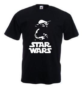 Tricou negru imprimat Yoda SW 2