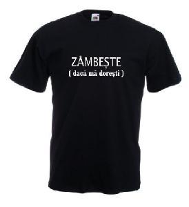 Tricou negru imprimat Zambeste