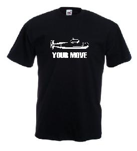 Tricou negru inchis imprimat Your Move