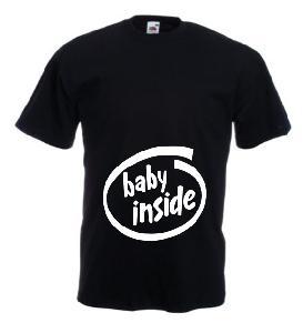 Tricou negru pentru gravide imprimat Baby Inside