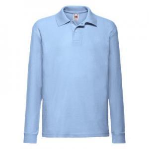 Tricou Polo 65/35 Maneca Lunga Copii, Bleu