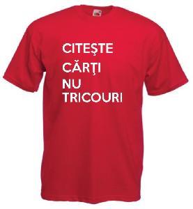 Tricou rosu, imprimat Carti Tricouri