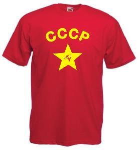 Tricou rosu imprimat CCCP