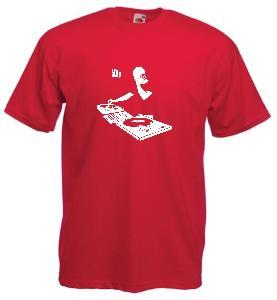 Tricou rosu imprimat DJ 1