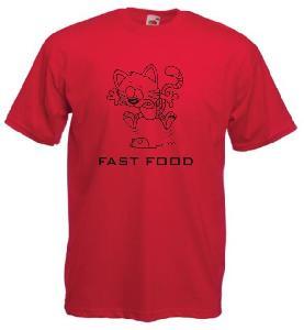 Tricou rosu imprimat Fast Food