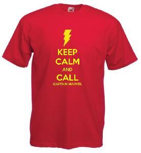 Tricou rosu imprimat Keep Calm Captain Marvel