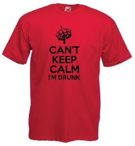 Tricou rosu imprimat Keep Calm I'm Drunk