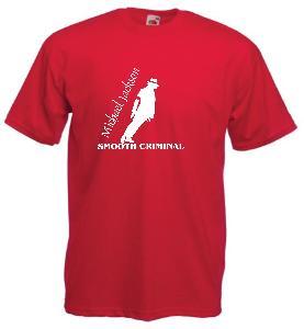 Tricou rosu imprimat Michael Jackson Smooth Criminal