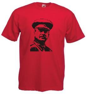 Tricou rosu imprimat Stalin